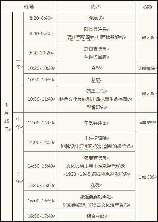 四川農業大學01月15日講座流程與題目